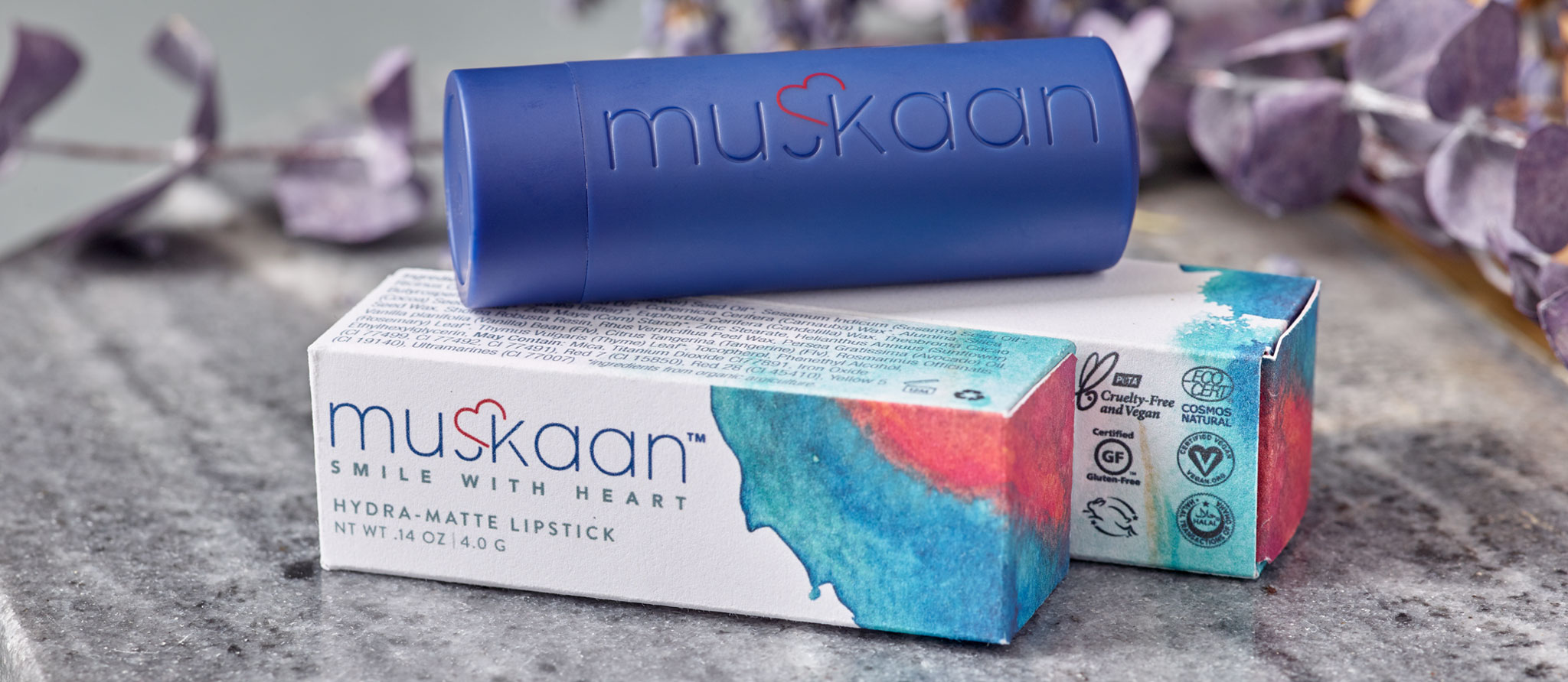 Muskaan lipstick tube and product packaging photography