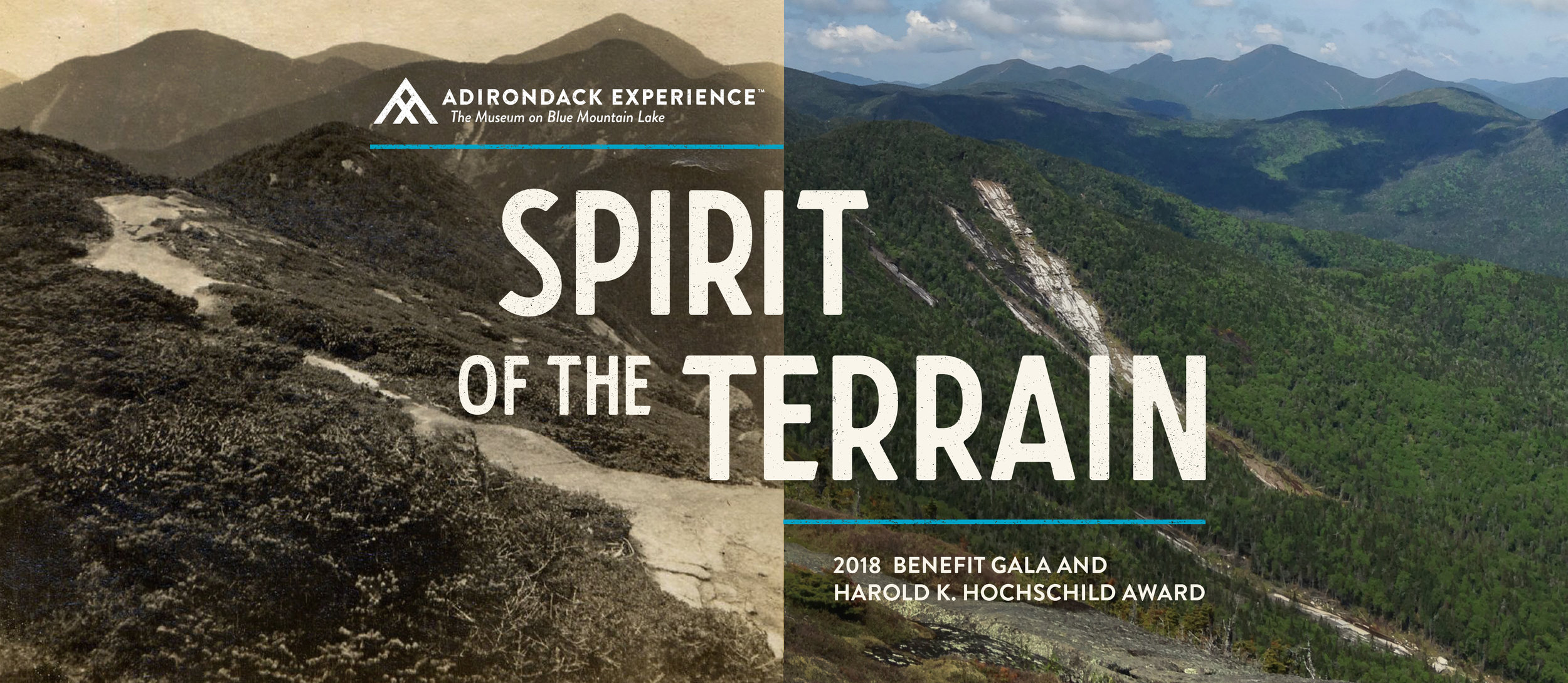 Spirit of the Terrain benefit gala title graphic over Adirondack Mountains photo