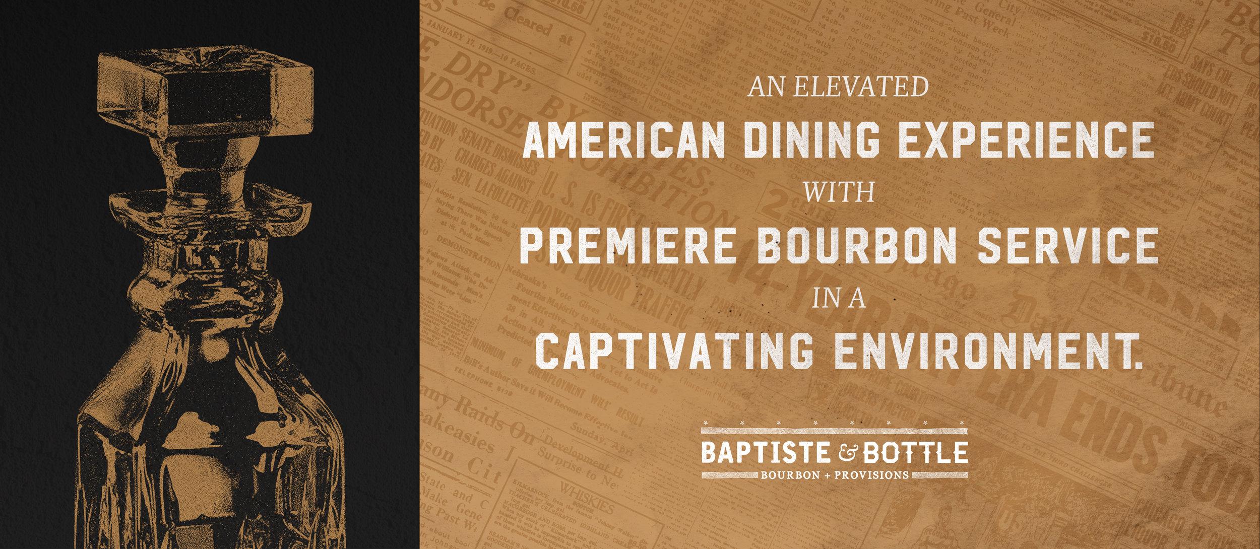 Baptiste & Bottle brand promise over prohibition era imagery