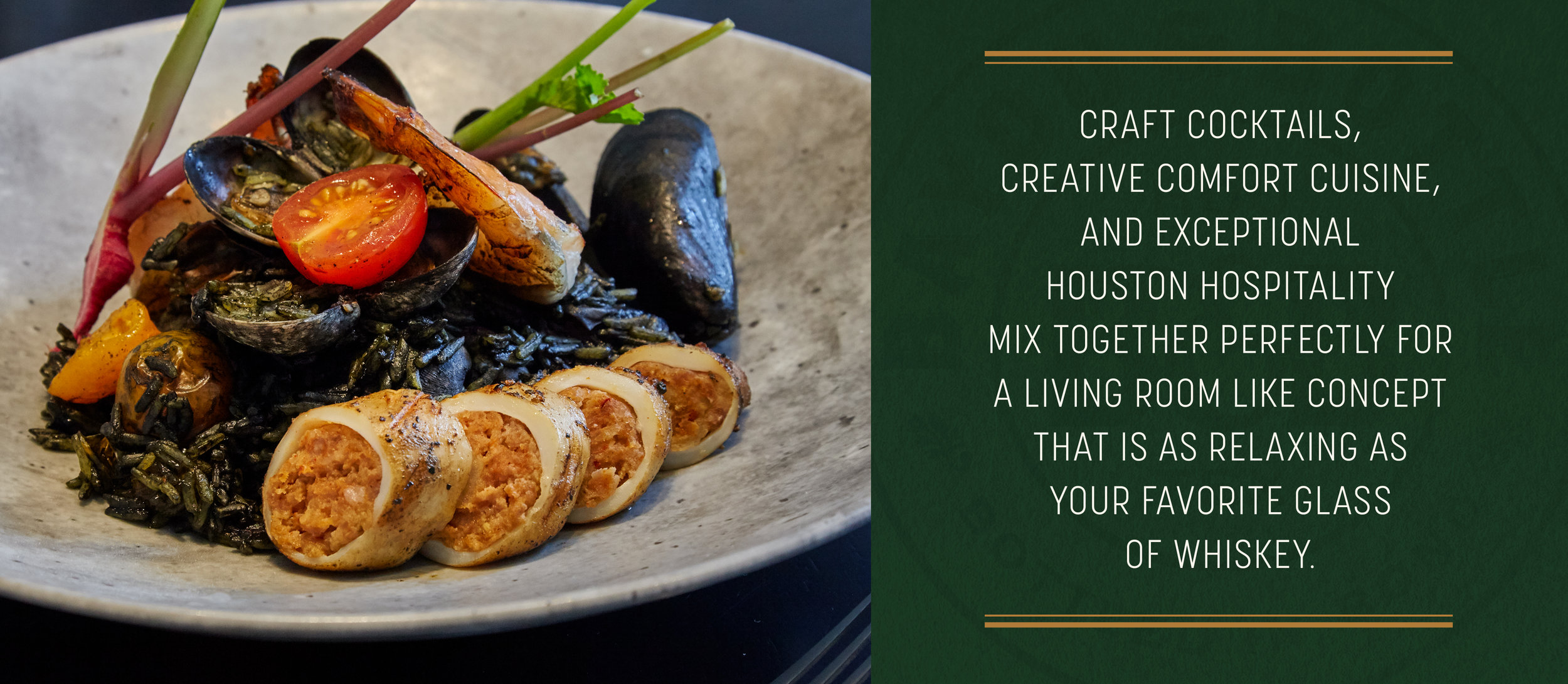 """(Left) Aqimero Squid Ink paella photography (Right) Bayou & Bottle description graphic"