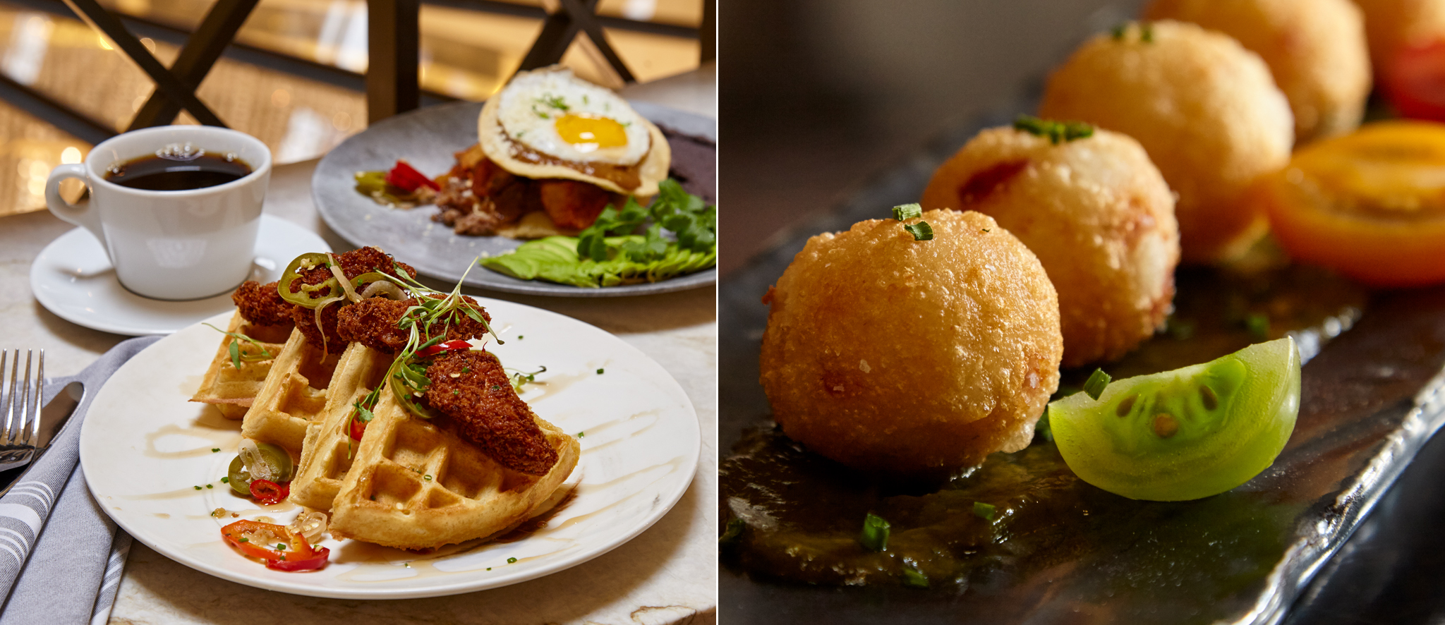 """(Left) Aqimero chicken and waffles brunch (Right) Aqimero fried appetizer photography"