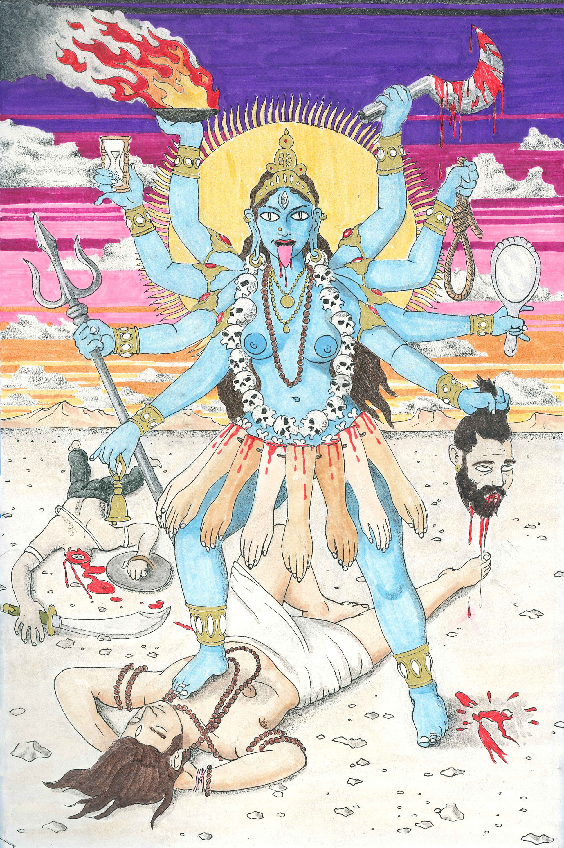Kali.  2018. Ink, Marker, Colored Pencil on Paper. Available.