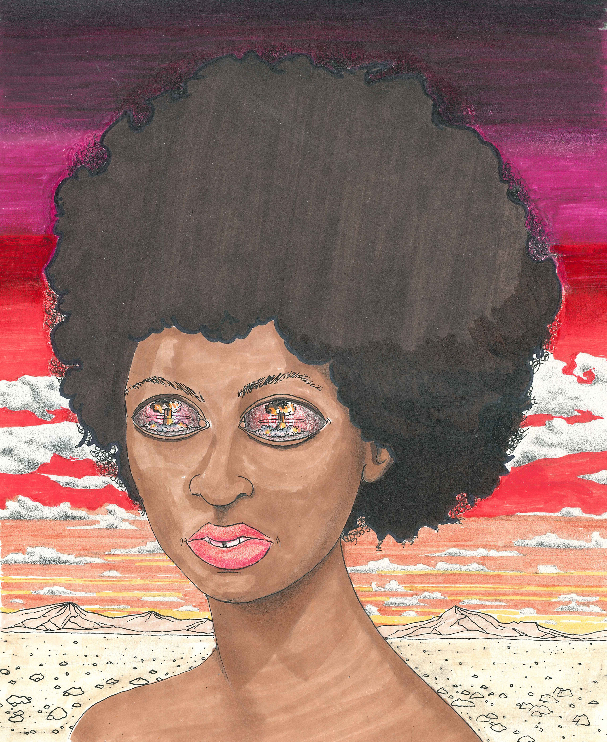 Anticipation (Afrogirl).  2018. Ink, Marker, Colored Pencil on Paper. Available.