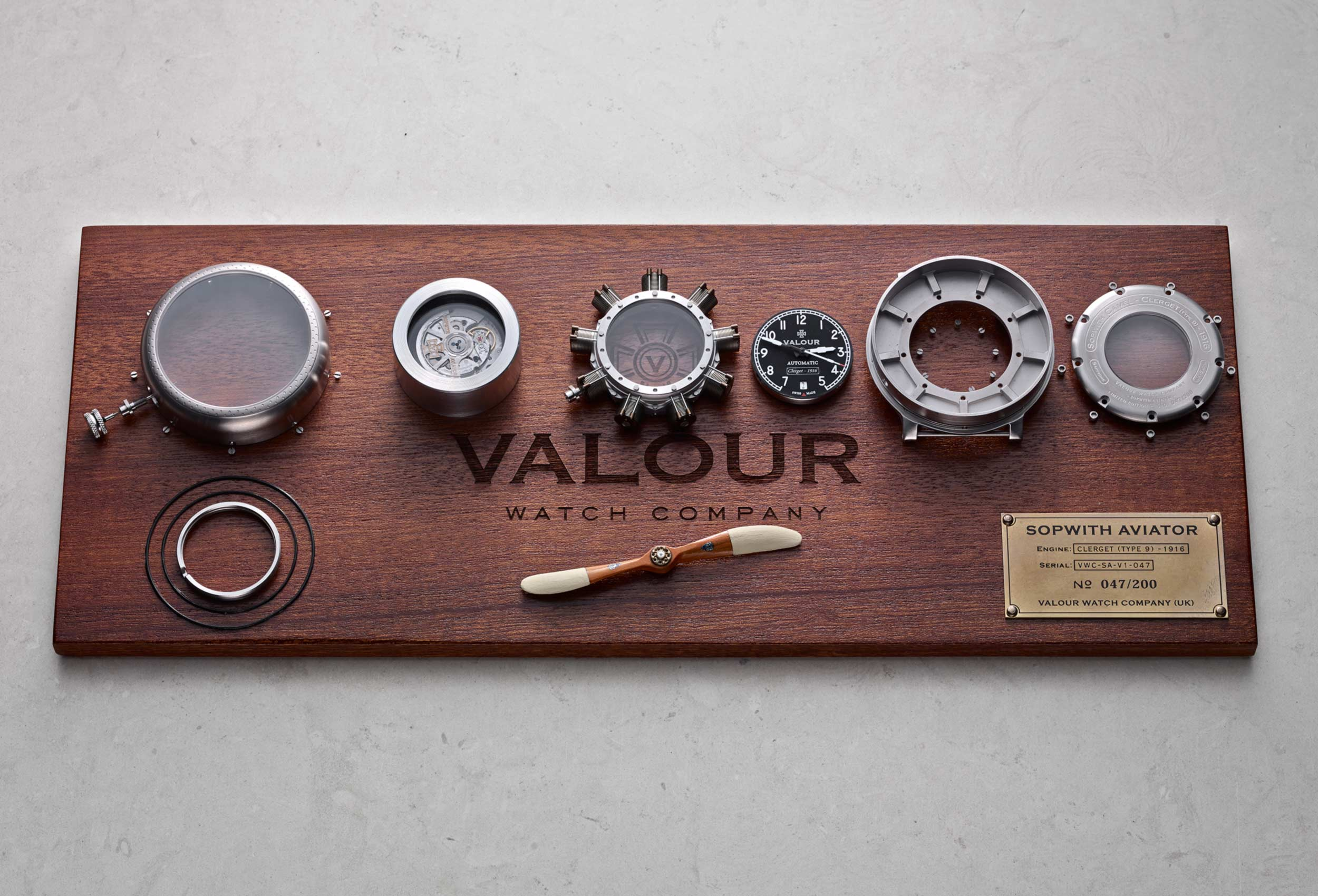 The bespoke plaque  Made from a disassembled watch, this plaque features in our client's WW1 themed private bar.