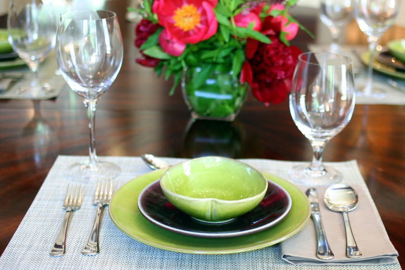 Jars Ceramics in Avocado and Eggplant with Kosta Boda Chateau Stemware
