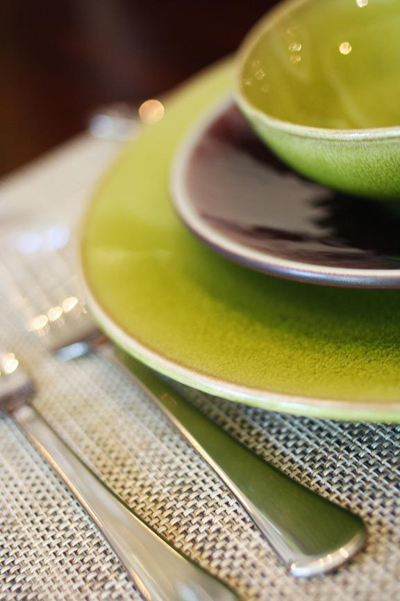 Tourron Dinnerware in Eggplant and Avocado with Nenuphar in Avocado