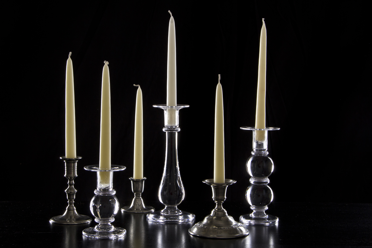 Assorted Glass and Pewter Candlesticks