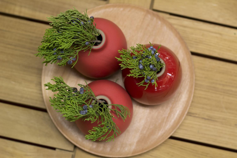 Heath Ceramics Holiday Red Bud Vases