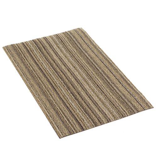Stage 1 - The Doormat    Your first line of defense is  The Doormat . It has a plush, tufted shag that will absorb the moisture, debris, and potential mud that was missed by your outdoor mat. It is available in a wide range of colors to blend with any interior decor.