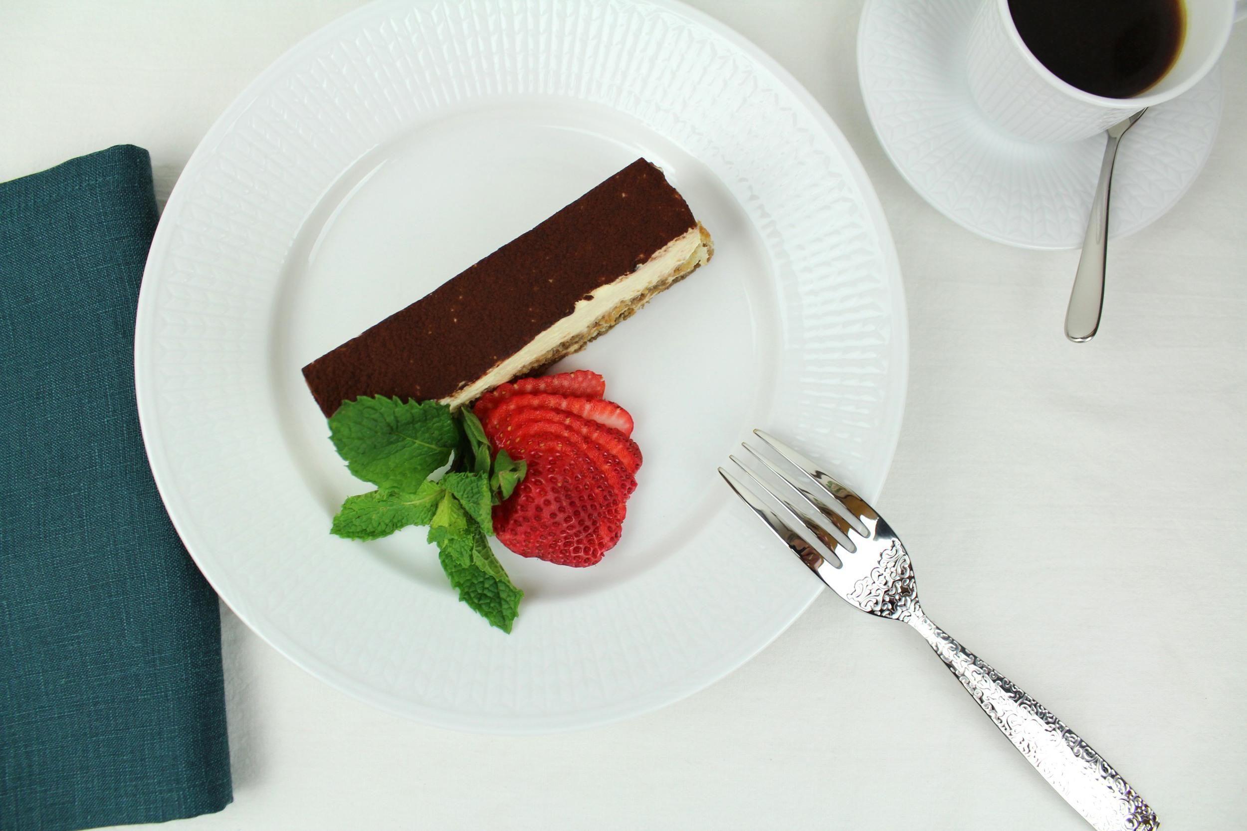 Rorstrand  Swedish Grace salad plate ,  espresso cup ,  espresso saucer , Alessi Nuovo Milano mocha spoon,  Libeco Vence linen napkin in Teal ,  Alessi Dressed dessert fork .