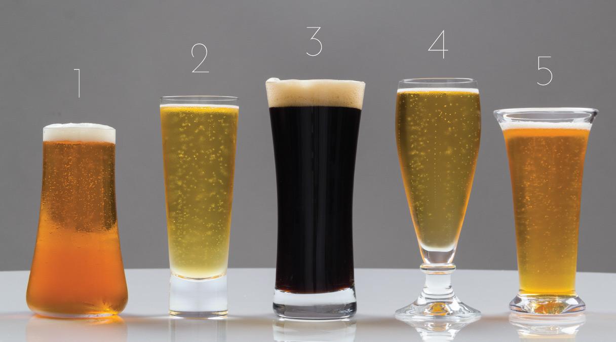 L to R: Alessi Splugen Beer Glass , iittala Aarne Beer Glass , Schott Zwiesel Basic Beer Lager Glass , Schott Zwiesel Beer Brussels Pilsner glass , Simon Pearce Tall Norwich Beaker