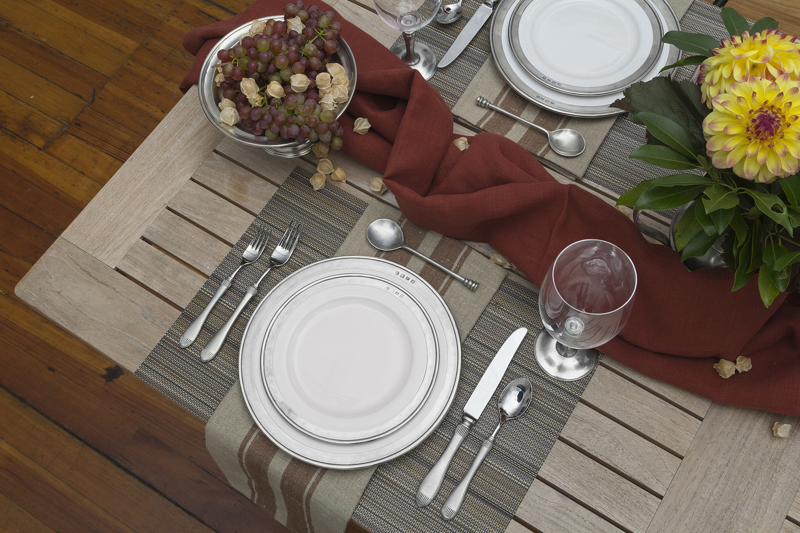 Libeco Home  Grainhall napkin ,  Chilewich multi stipe placemat  in Harvest,  Match Pewter   tableware