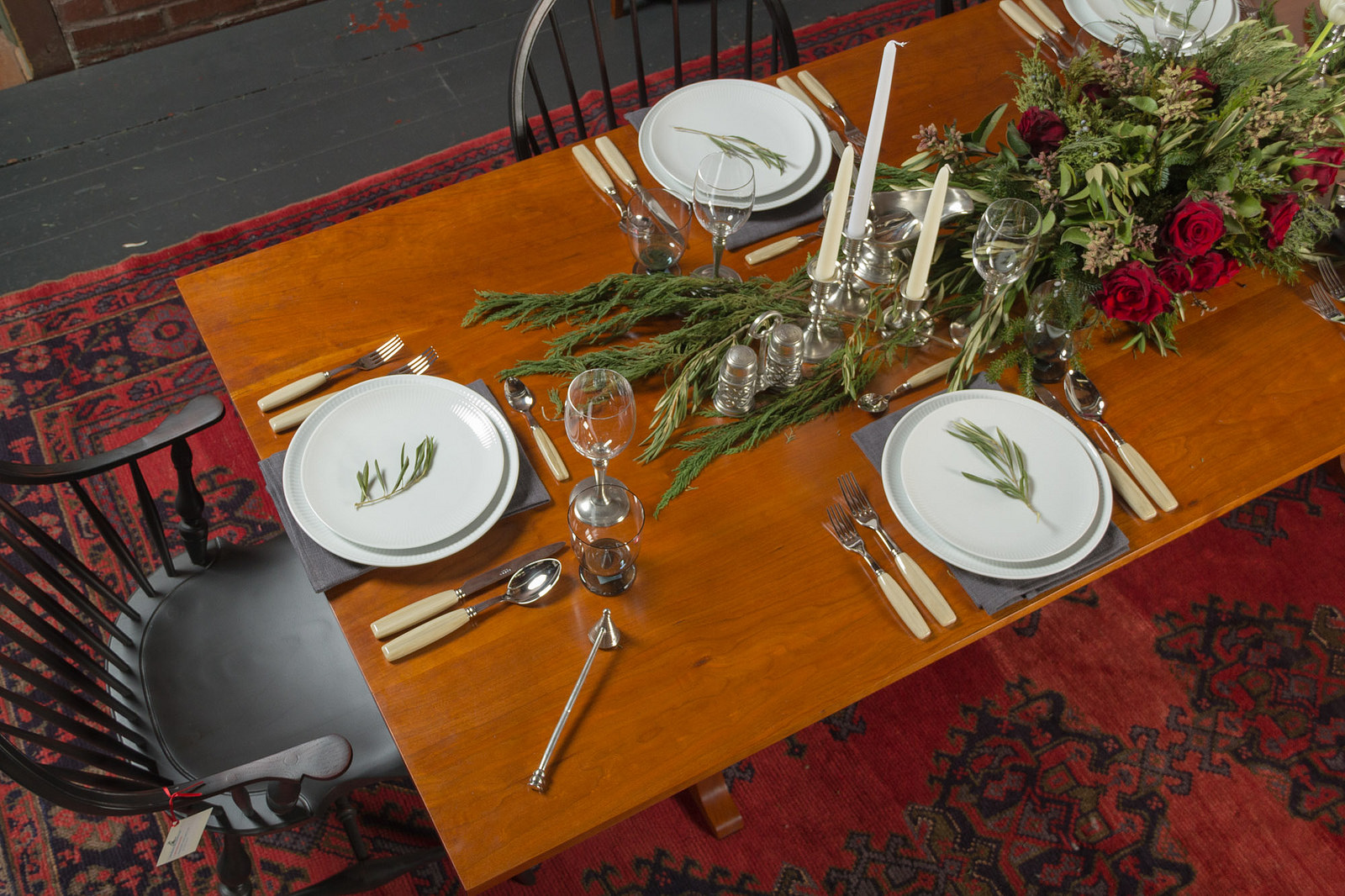 Royal Copenhagen White Fluted Plain  Coupe tableware,  Sabre Djembe  flatware,  Match Pewter glassware , accessories