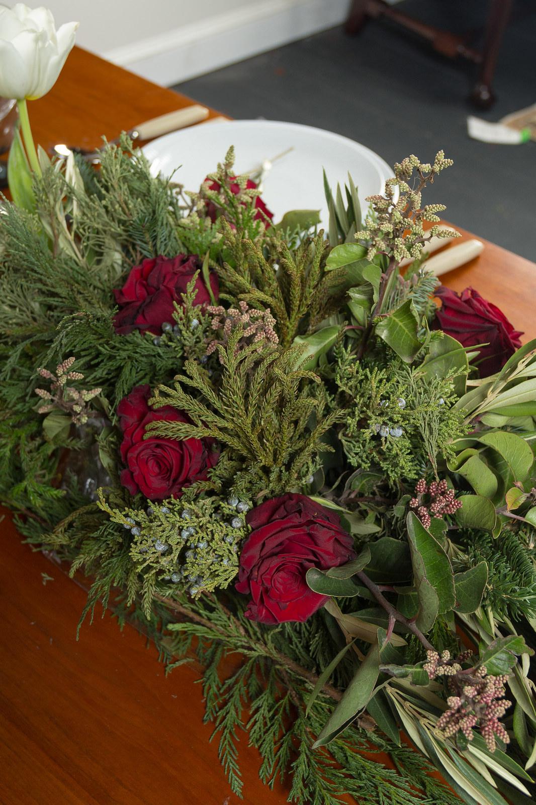 Observatory Boutique rose, cedar, juniper centerpiece