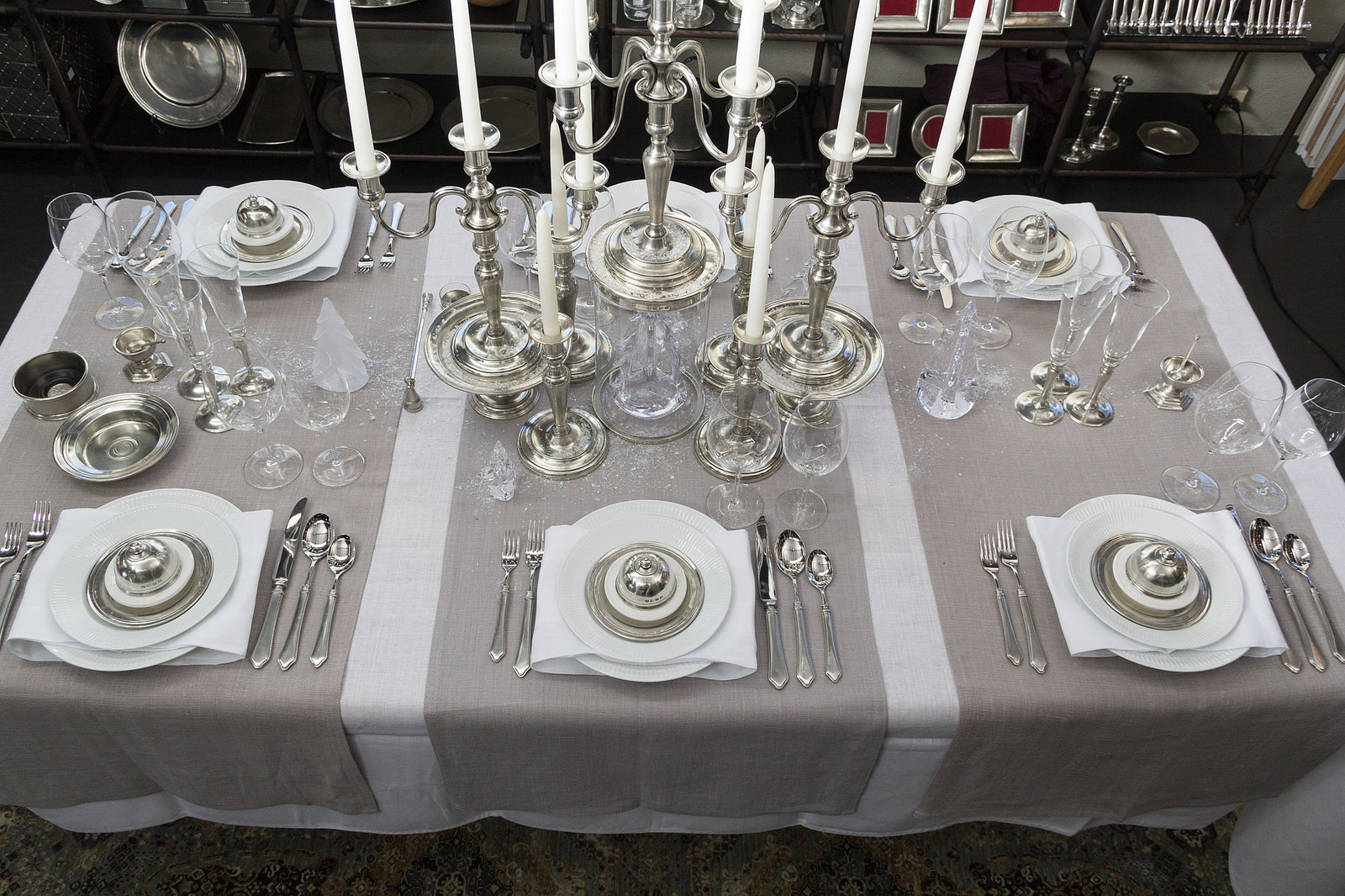 Royal Copenhagen  White Fluted Plain tableware , Match Pewter accents