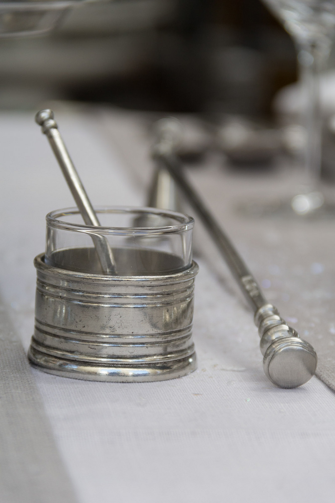 Match Pewter condiment holder, candle snuffer