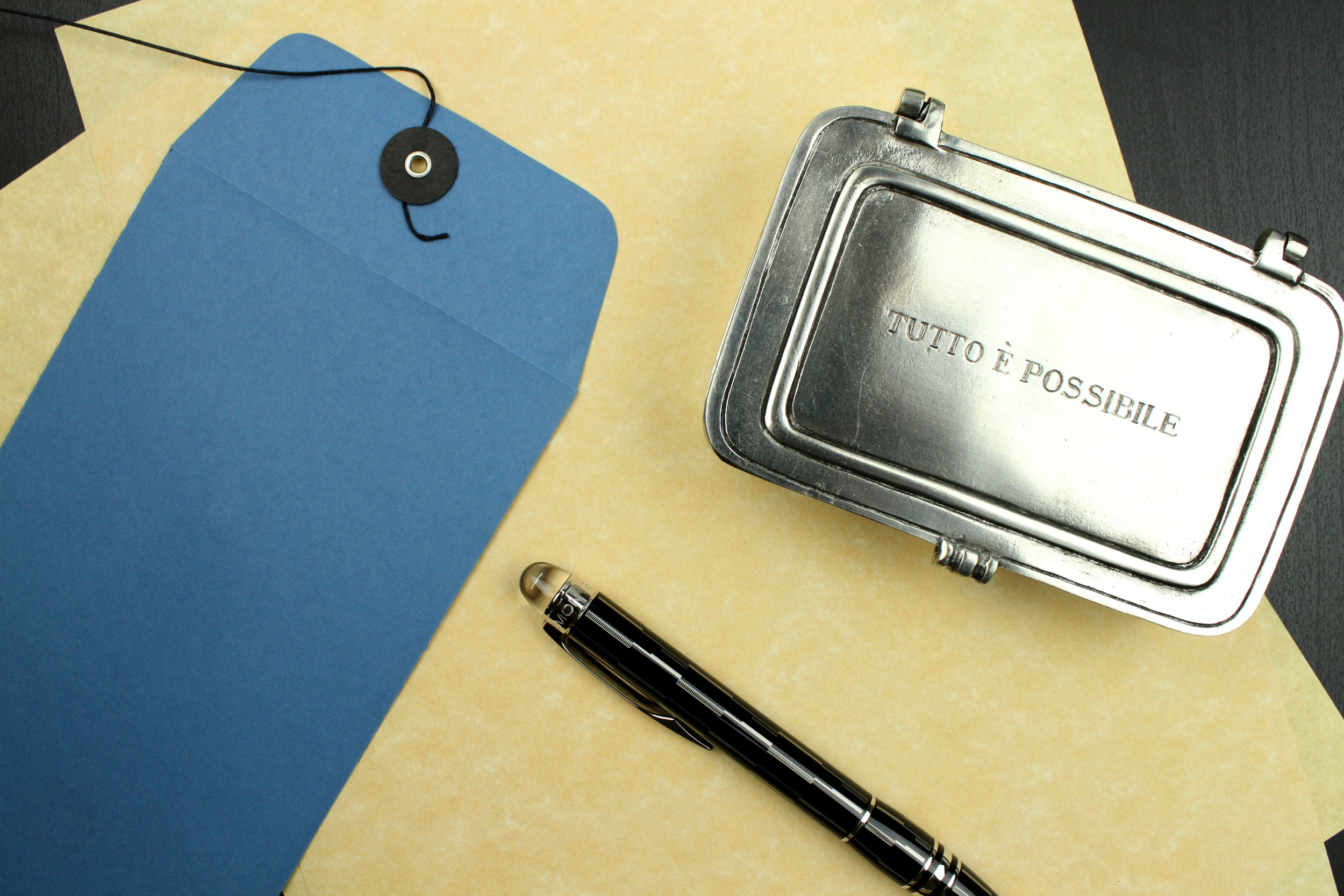 """Match Pewter  """"Tutto E Possibile"""" hinged box"""