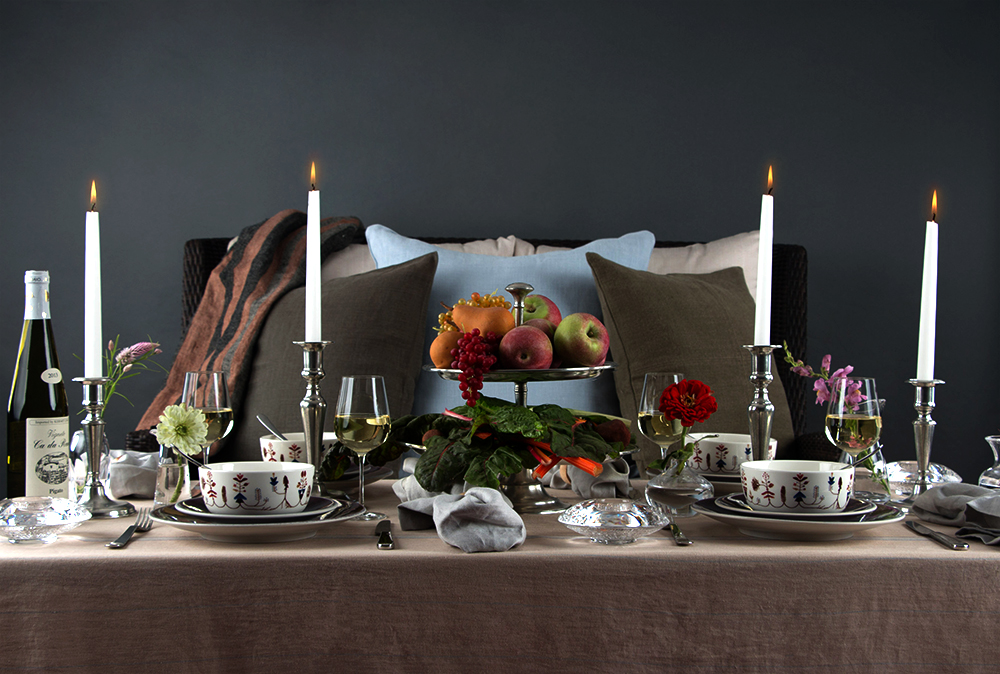 Libeco Home Old Norwegian Stripe Tableclot  h ,  Libeco Home Finn Napkins in Grey ,  Match Pewter Candelabrastick ,  Iittala Sarjaton Bowl in Varpu White ,  Jars Tourron Dinnerware in Eggplant ,  Orrefors Votives , Match Pewter Flatware ,  Simon Pearce Bud Vases ,  Match Pewter Toscana Two-Tier Centerpiece ,  Barlow Tyrie Savannah Loveseat Settee With Cushions ,  Brahms Mount Blanket ,  Libeco Home Pillow Cover