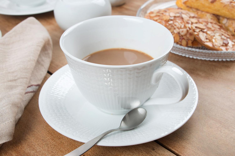 Rorstrand Swedish Grace Tea Cup in Snow , Rorstrand Swedish Grace Saucer in Snow ,  iittala Citterio Coffee Spoon
