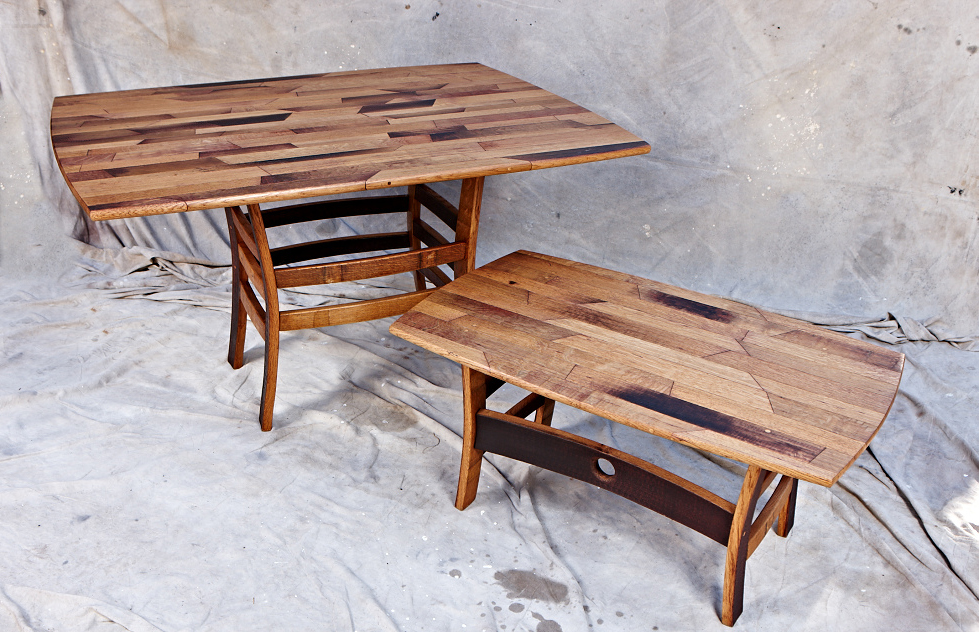 MZ3D parquet style wine barrel tables