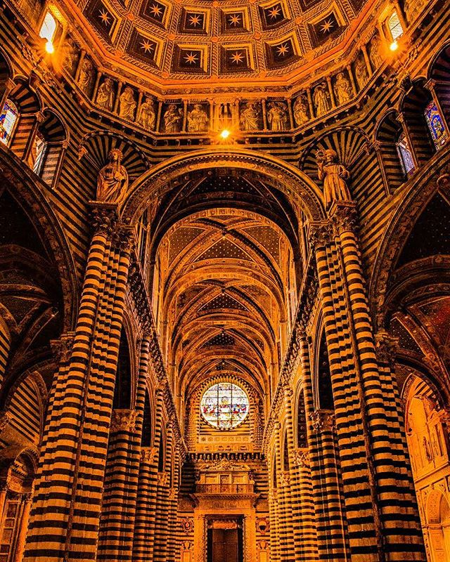 """They say Gothic architecture was all about bringing light inside, and giving an uplifting feeling. The feeling, standing there, looking up make ghosts of words. #siena #italy — """"Whoever thou art, if thou seekest to extol the glory of these doors, marvel not at the gold and the expense but at the craftsmanship of the work."""" The Basilica Cateriniana San Domenico Siena leaves a dramatic impression.  Honestly, this is probably the worst shot to represent this building, as the art works of marble on the floors and walls will leave you stammering with wonderment. So I suppose you'll just have to go see for yourself. ;) — 📸#sterlingsanders — #architecture #architectureporn #architecturelovers #building #buildings #urban  #buildingporn #architectures #ic_architecture #instadaily #primeshots #arquitectura #architettura #urbano #udog_public #arch #follow @art__fair @sarahzarstudio #picoftheday #architechture #amazingarchitecture #contemporary #architecten #arquitectura #instaarchitecture #architektur #architettura"""