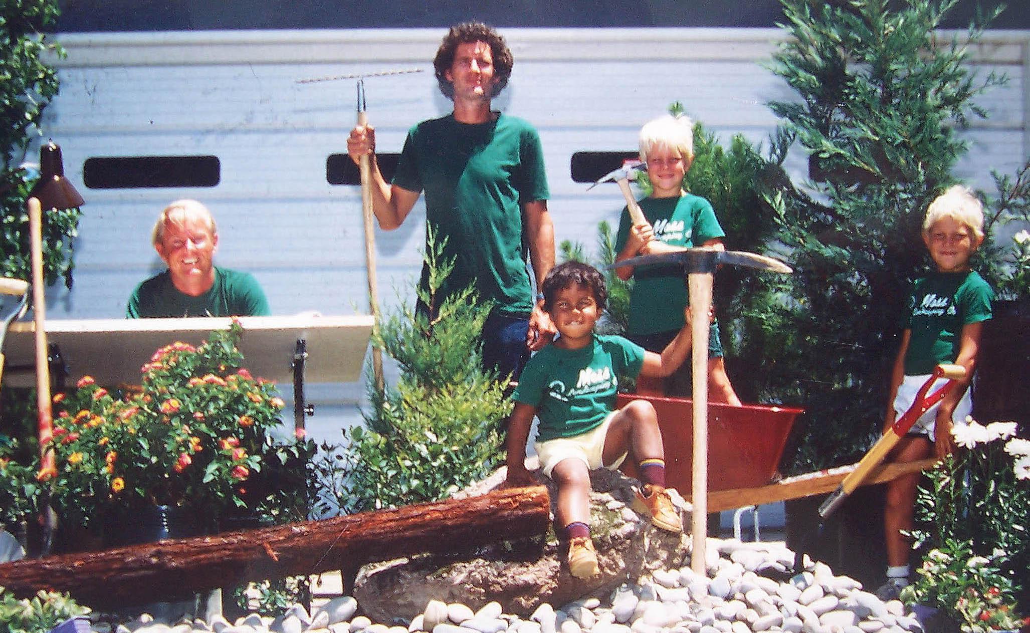 Moss Landscaping Company advertisement, 1977  L to R: Mike Moss, Glen Selman, Ryan Moss, Jake and Joel Moss