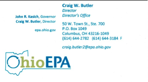For questions regarding Ohio EPA concerns, please call Craig at the about phone number. Craig will be happy to assist you while keeping your questions and concerns confidential.