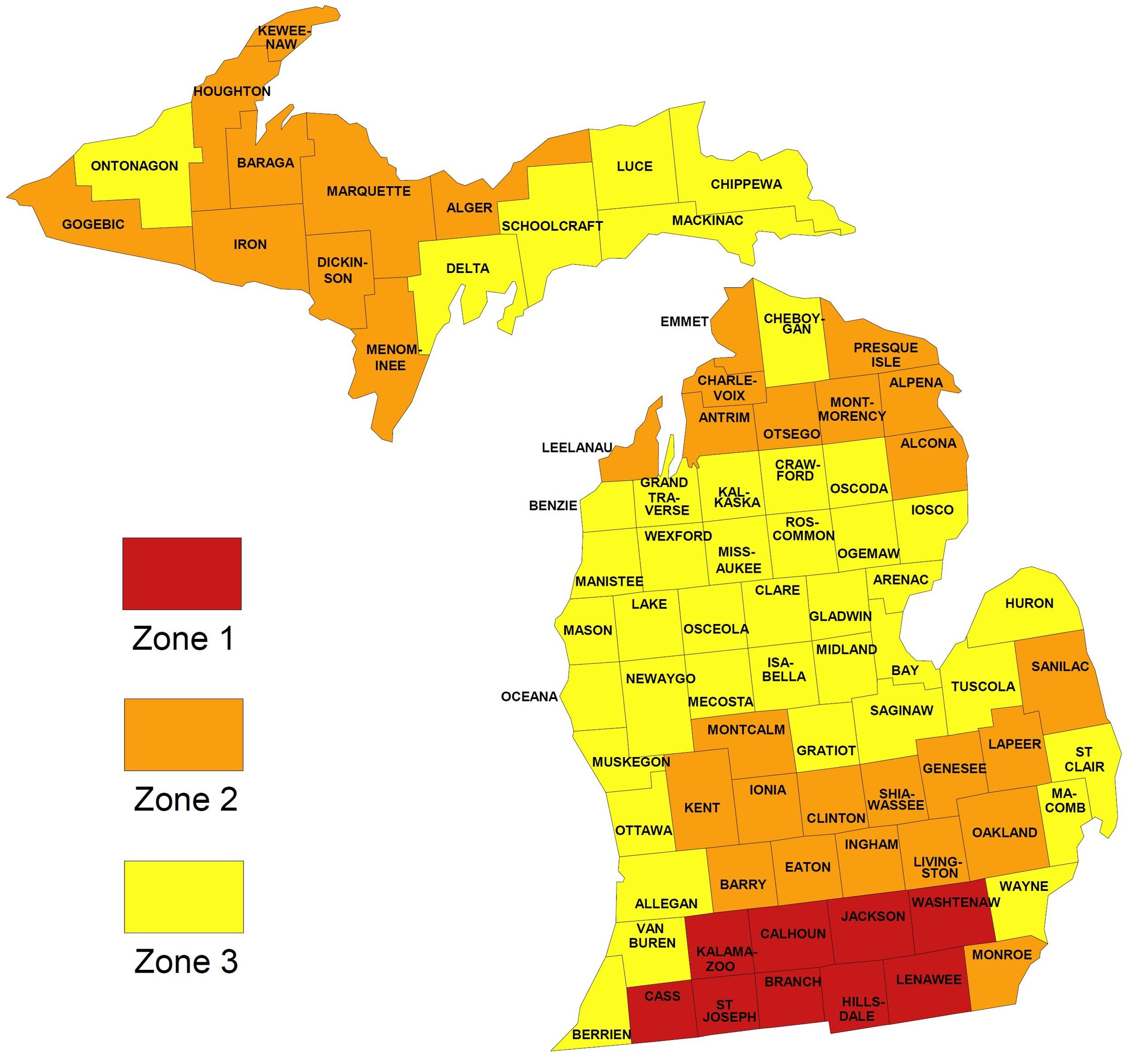 Map Source:www.epa.gov/radon/states/michigan.html