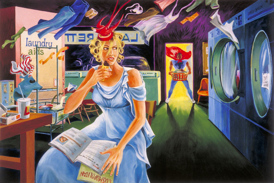 """Aphrodite at the Launderette""  oil on canvas  48"" x 72""  - SOLD"