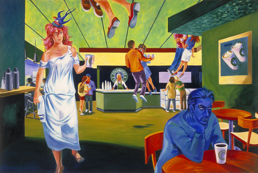 """Aphrodite at Starbucks""  oil on canvas  48"" x 72""  - SOLD"