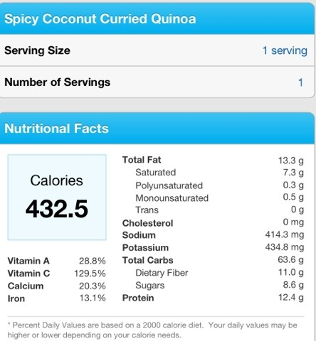 Nutrition Facts Spicy Coconut Curried Quinoa.jpg