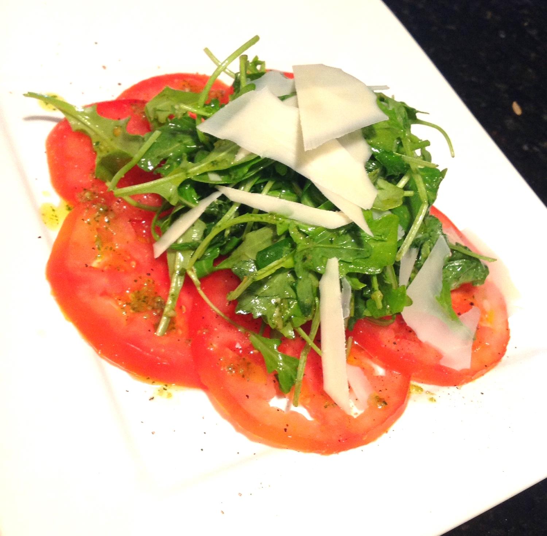 Tomato Arugula Salad with Basil Pesto Dressing.JPG