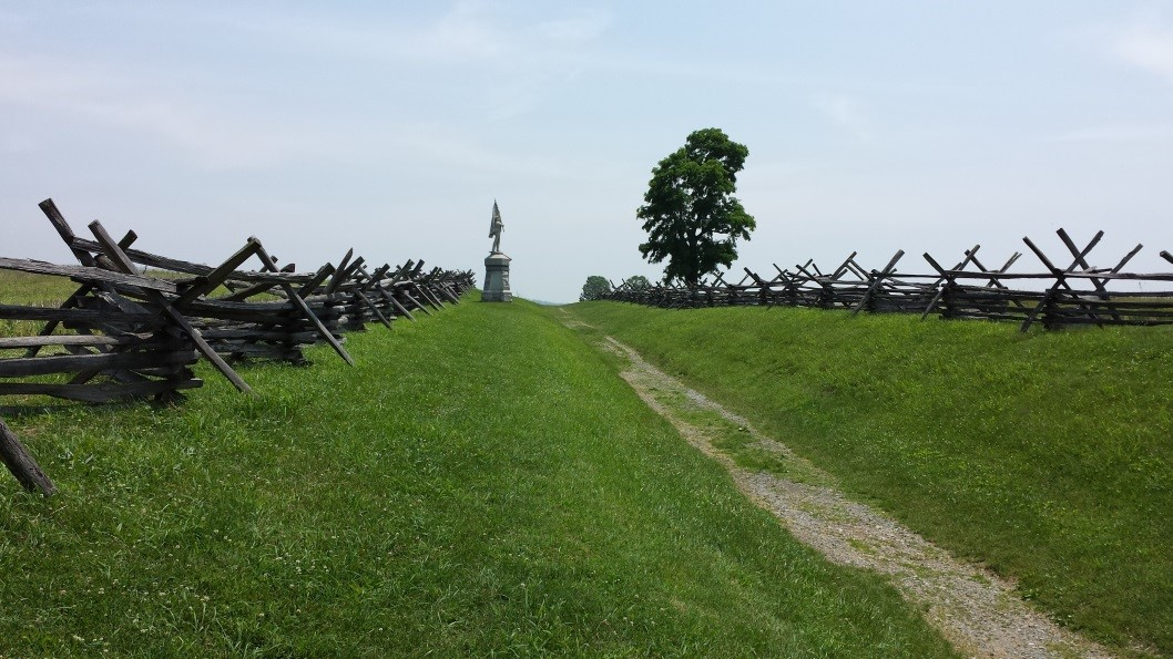 Above: Looking south along the sunken farm road. Union regiments advanced from the left
