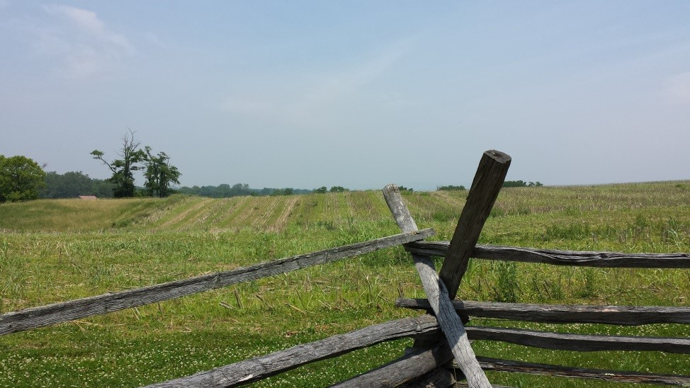 Above: The clear fields of fire possessed by the Confederate defenders.
