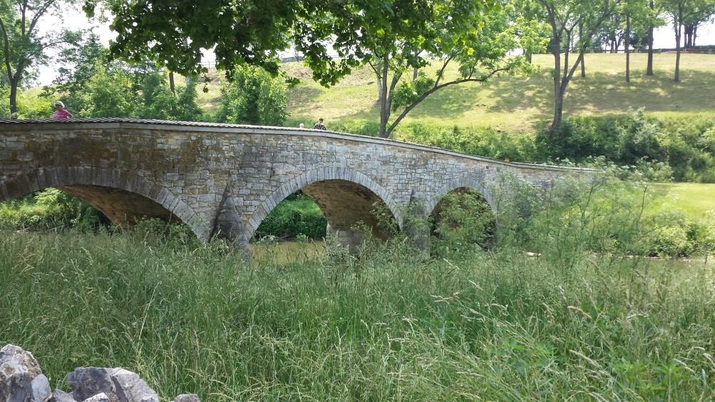 "Above: The bridge over Antietam Creek, known as ""Burnside's Bridge."""