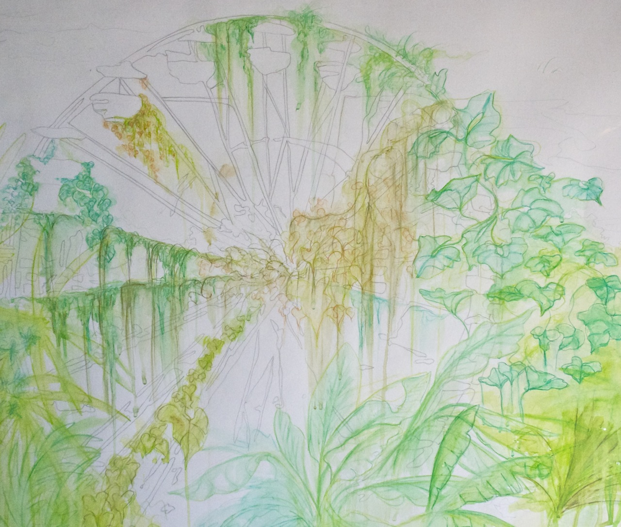 Urban Green: Water front Farris-Wheel Graphite and watercolor pencil on paper
