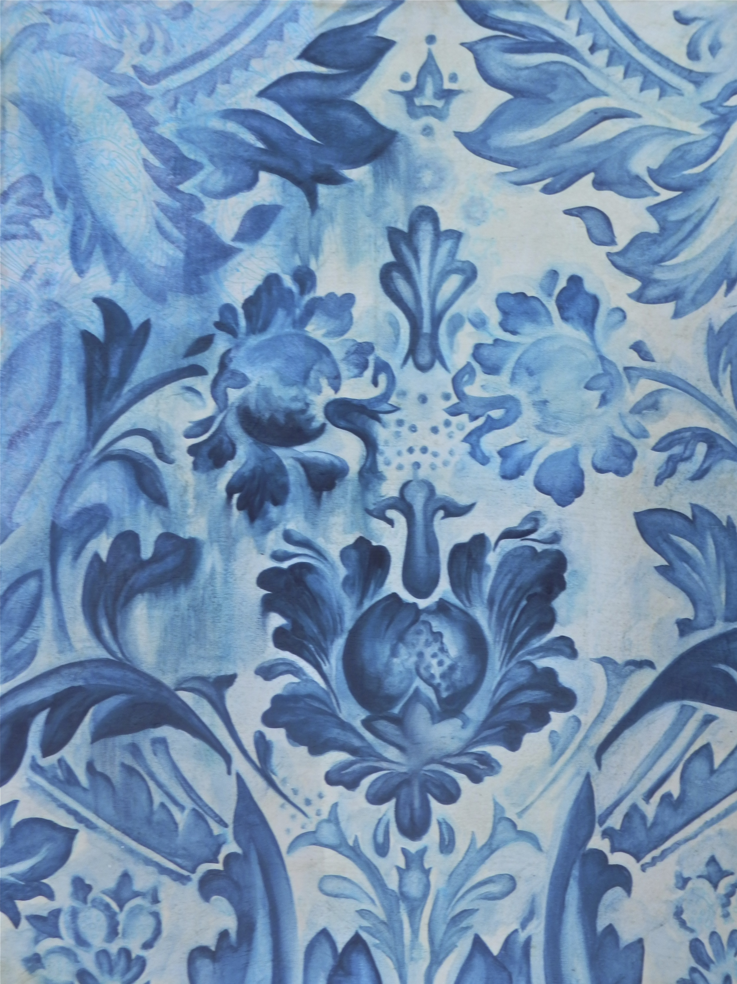 Real Damask Blue Print