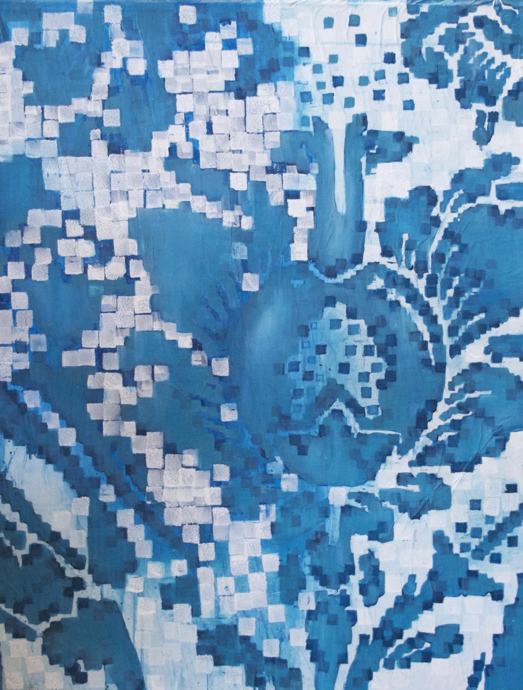 Over Pixliated Blue Print