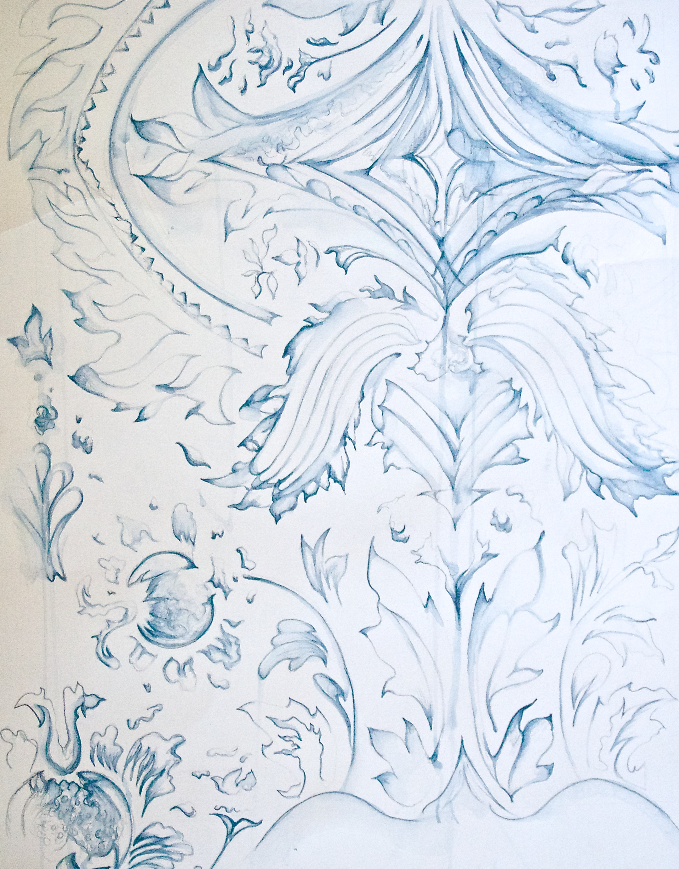 Grey Blue Print Sketch
