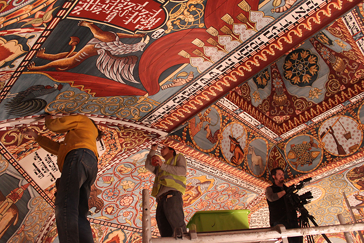 Retouching the ceiling paintings