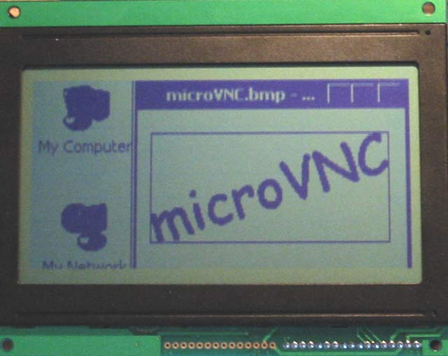Example of PC screen shared over microVNC