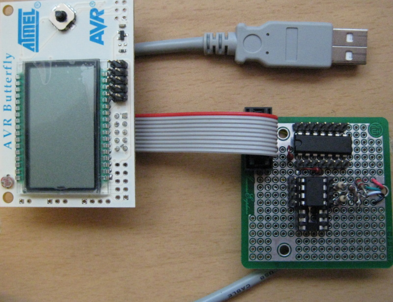 tinyJTAG prototype connected to AVR Butterfly