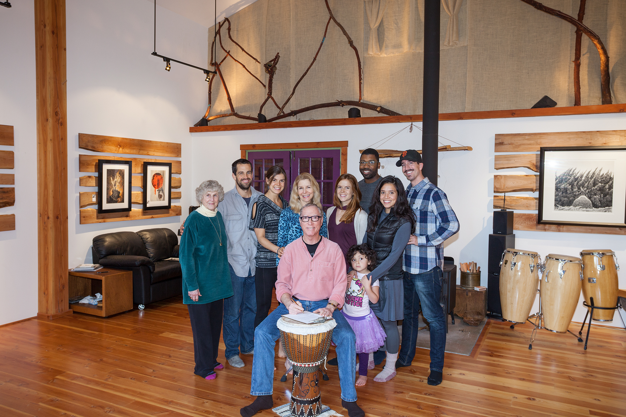 Signing the contract in the studio with family on Thanksgiving Day, 2016. L to R, Jojo, Gabe, Emily, Lea, Juliana, Cliff, Ina, Felsha and Jon.