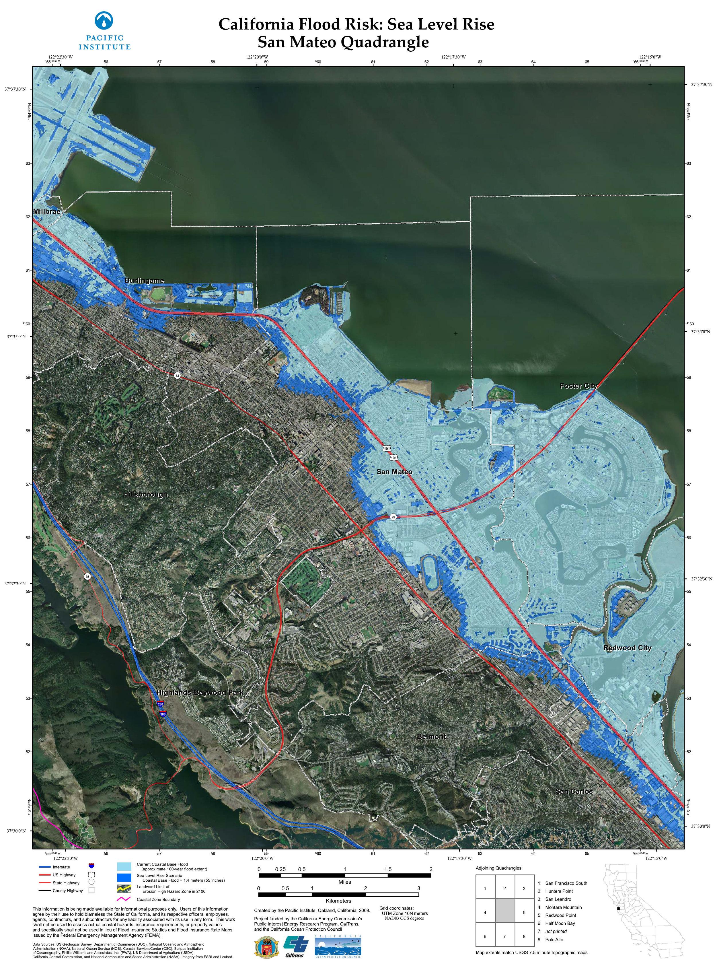 Projected Sea Level Rise - San Mateo County Shoreline, Quadrangle