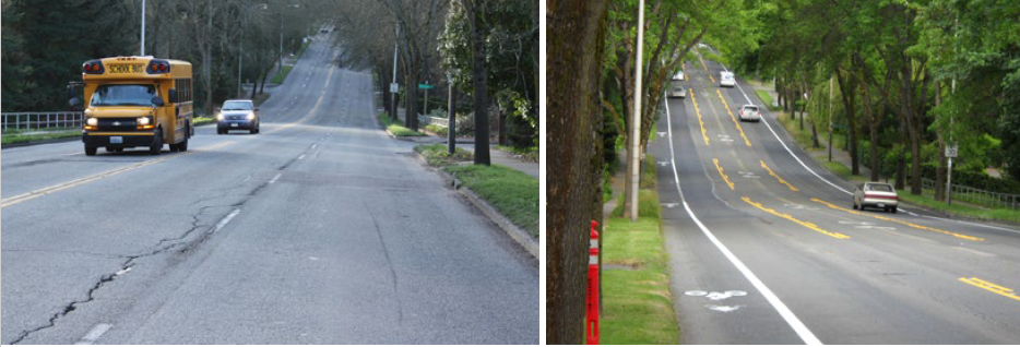 Seattle, WA (before and after)  (source: Smart Growth America (March 2013): Safer Streets, Stronger Economies: Complete Streets project outcomes from across the country)