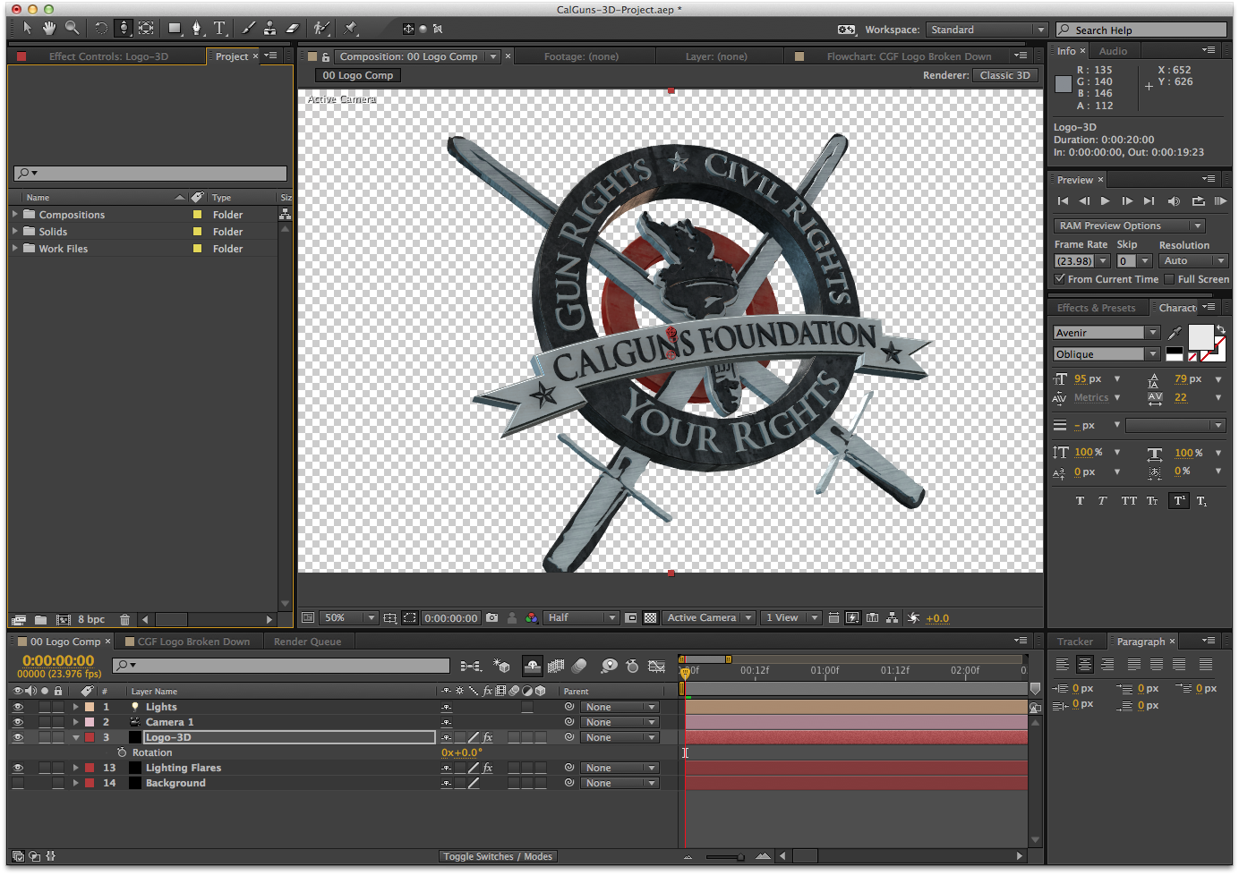 Composite version of the 3D logo. Ready for animation.