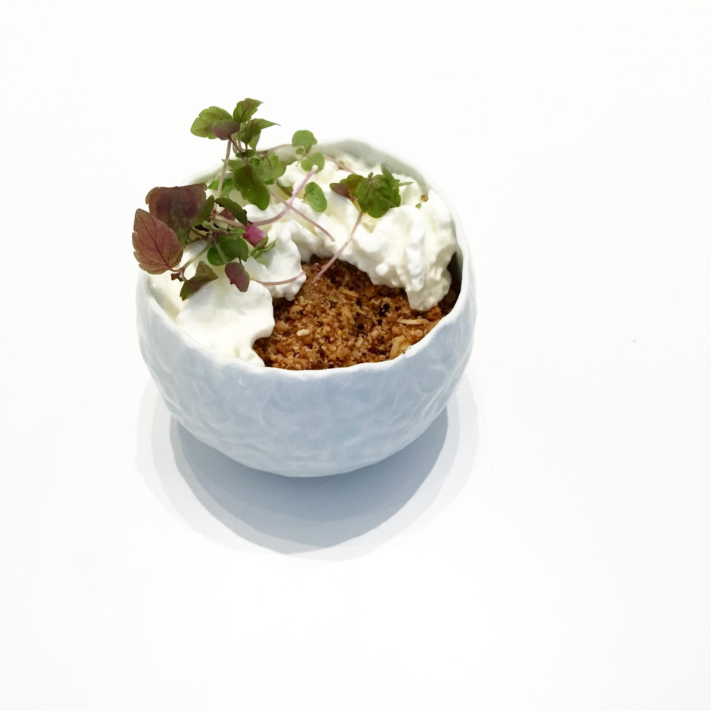 Rhubarb Crumble in Small Bowl