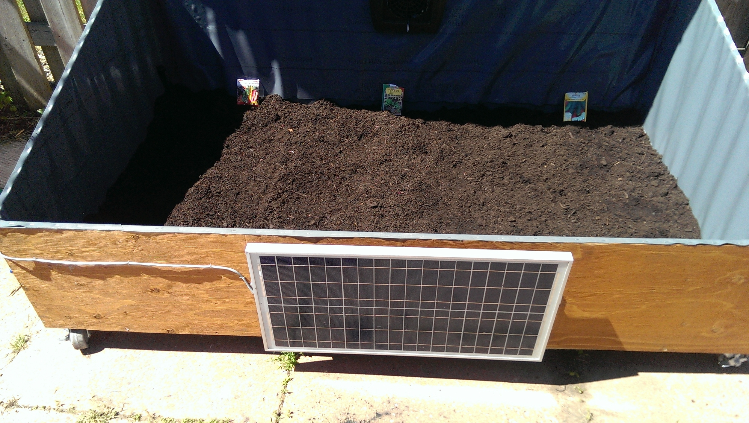 Planted with Scotts premium soil and three types of seeds. Cucumber, lettuce, swiss chard