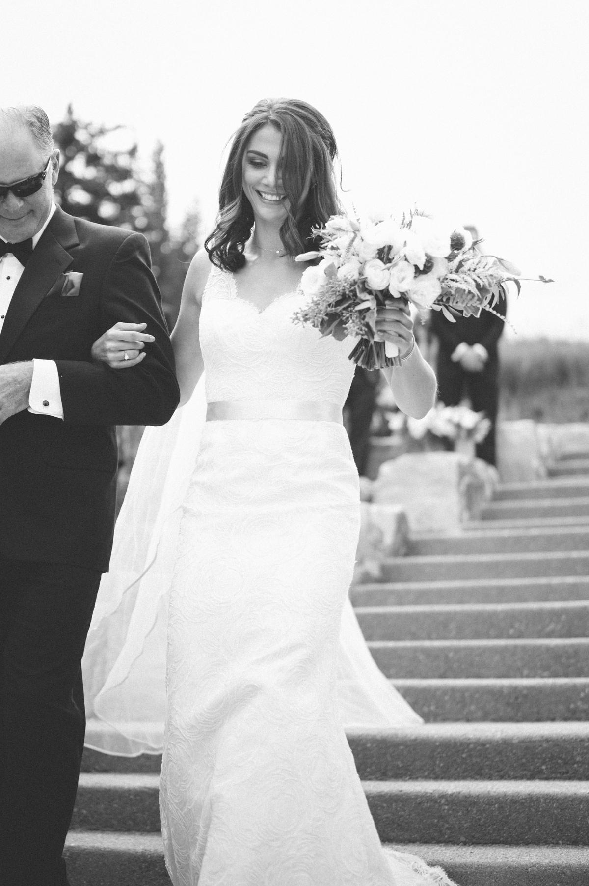 120-beaver-creek--bride--wedding-processional--dad--wedding--black-and-white.jpg