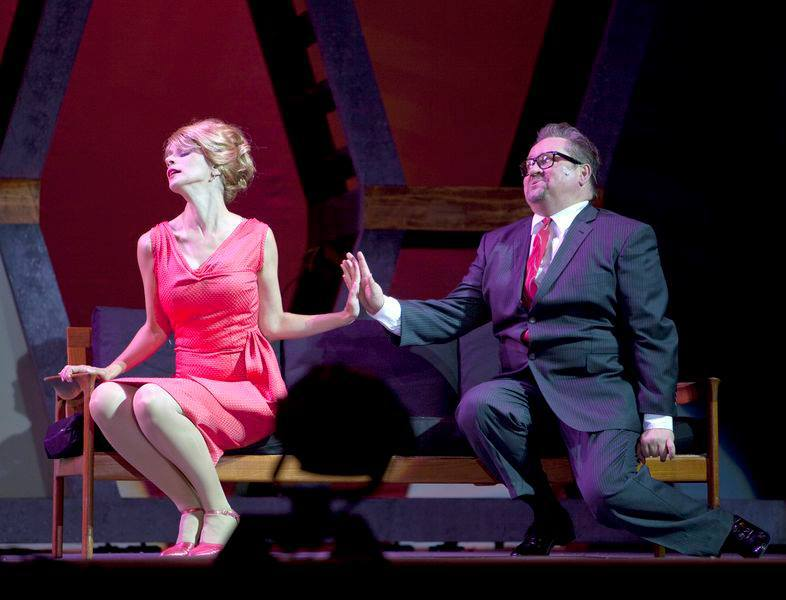 """Hedy Larue & J.B. Biggley (Joel Wirkkunen) in """"How To Succeed In Business Without Really Trying"""" (Theatre Under The Stars)  *Photo by Tim Matheson"""